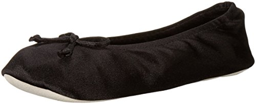Isotoner Women's Satin Ballerina Slipper with Bow, Suede Sole, Black, Large / 8-9 US