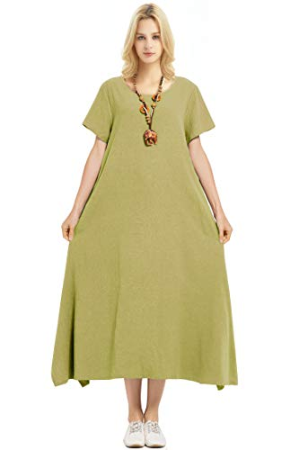 Anysize Linen Cotton Soft Loose Spring Summer Dress Plus Size Clothing F126A Olive Green