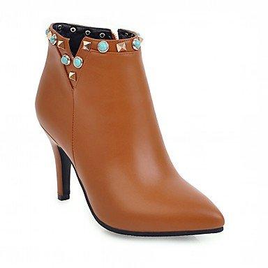 RTRY Zapatos De Mujer De Piel Sintética Pu Novedad Moda Otoño Invierno Confort Botas Botas Stiletto Talón Señaló Toe Botines/Botines De Remache US7.5 / EU38 / UK5.5 / CN38