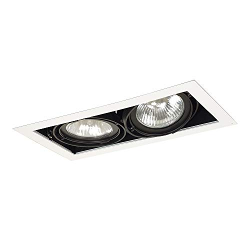 Jesco Lighting MGP30-2WB Modulinear Directional Lighting for New Construction, Double Gimbal PAR30 2-Light Linear, Black Interior with White Trim