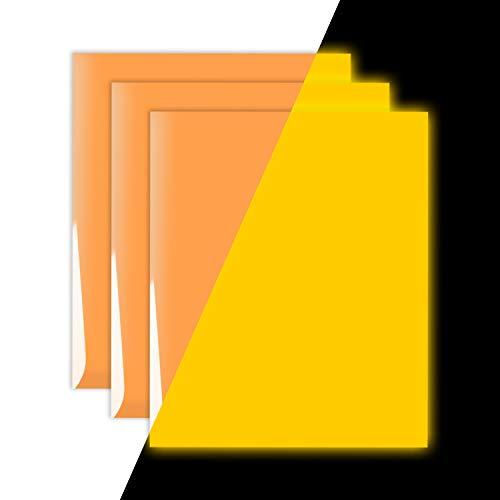 Glow in The Dark Vinyl Luminous Heat Transfer Vinyl HTV for T-Shirt 12 X 10 Neon Orange Glow Yellow (Pack of 3)