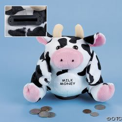 Plush Cow Bank with Sound - Bank Coin Cow