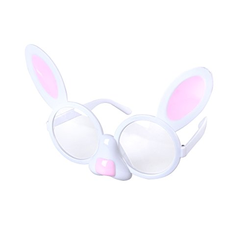 OULII Bunny Shaped Glasses Funny Eyeglasses Cute Dress Up Eyewear Props Novelty Sunglasses With Clear Lenses for Easter Party - With Sunglasses Egg