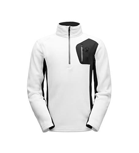 - Spyder Men's Bandit Half Zip Stryke Jacket, White/Black/Turkish Sea, X-Large