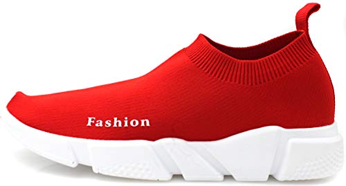 71e1d5cc6 JIYE Women's Men's Running Shoes Free Transform Flyknit Fashion Sneakers,  Red,38EU=7 US-Women/6 US-Men