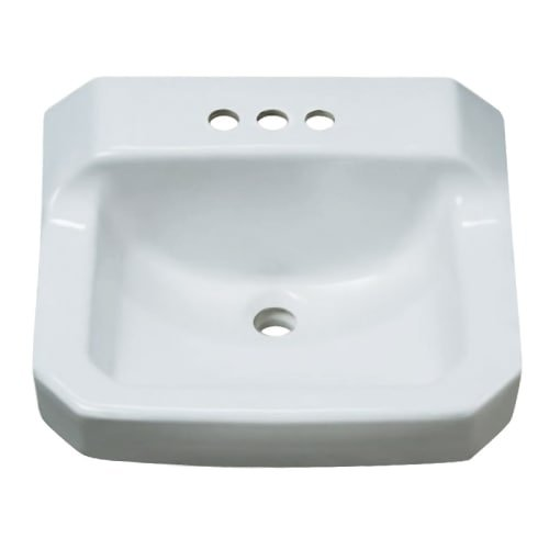 ProFlo PF5414 19-7/8 Wall Mounted Rectangular Bathroom Sink - 3 Holes Drilled, White - Rectangular Bathroom Wall