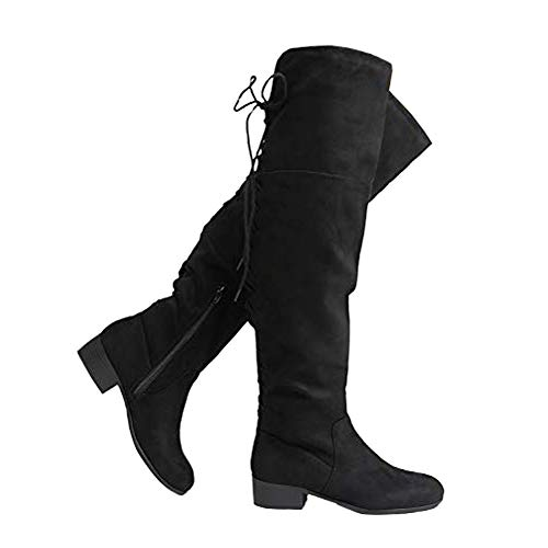J. Adams Carmel Knee High - Suede Lace Up Closed Toe Low Heel Knee High Boot