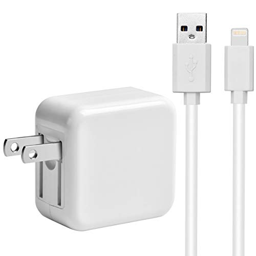 2.4A 12W USB Wall Charger Foldable Portable Travel Plug and 6ft Cable Compatible iPhone X/8Plus/7Plus/6sPlus/6Plus/8/7/6/6s/SE/5s/5, iPad 4/Mini/Pro