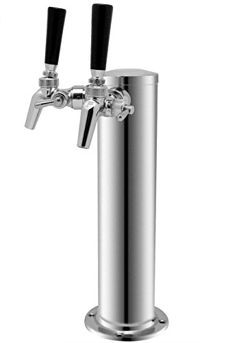 Kegco 2FT650SS Double Faucet SS Draft Beer Tower with Per Lick 650SS SS Faucets