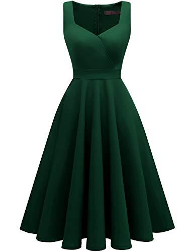 (DRESSTELLS Women's Bridesmaid Sleeveless Ruched Tea Dress Cocktail Swing Party Dress DarkGreen S)