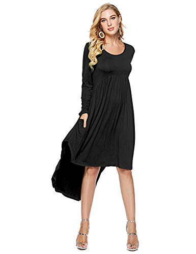 Casual Women's Midi Dress Neck Swing Low Loose Pleated High Black Pockets Scoop CROSS1946 fqTdzz
