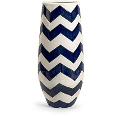 IMAX 25102 Chevron Tall Vase, Blue