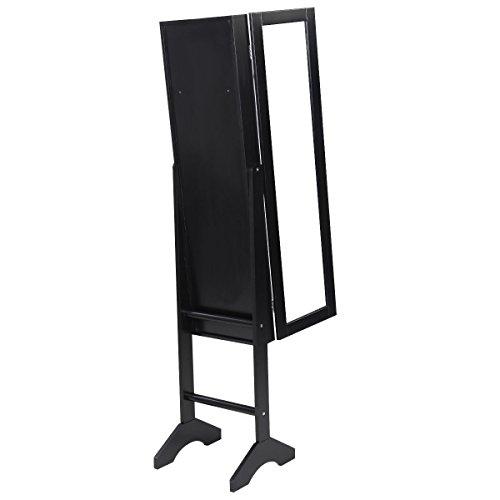 [Black Mirrored Jewelry Cabinet Armoire Mirror Organizer Storage Box Ring W/Stand] (Powell Linen Cabinet)