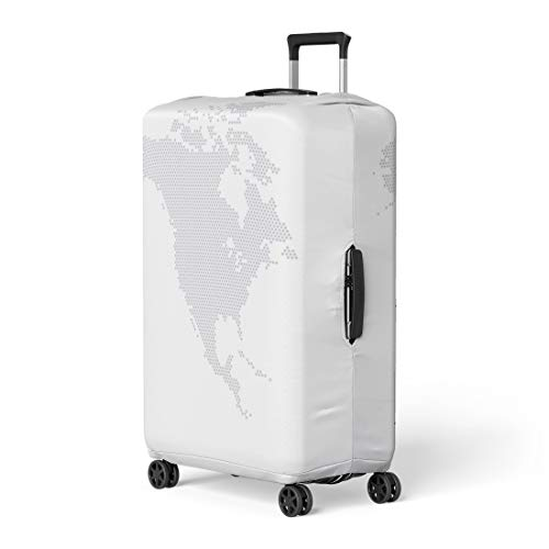 Pinbeam Luggage Cover Gray Dot North America Map Hexagon Globe Digital Travel Suitcase Cover Protector Baggage Case Fits 18-22 inches ()