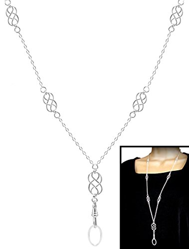 Brenda Elaine Jewelry | Real Silver Plate | Women's Fashion Lanyard Necklace for ID Badge Holders | 32 Inch Silver Chain with Multiple Silver Celtic Knots & Rear Magnetic Break Away Clasp