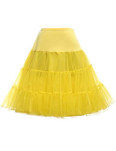 GRACE KARIN Vintage Rockabilly Petticoat Skirt Tutu 1950s Underskirt (Yellow,L)