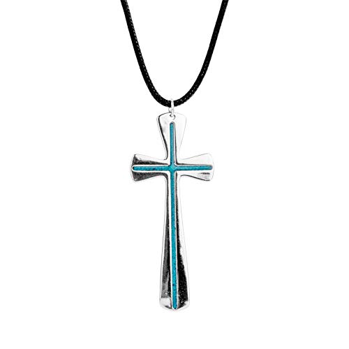 American West Sterling Silver Blue Turquoise Inlay Cross Necklace with Black Leather Cord 32 Inch