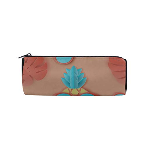 The Sun and Hibiscus Stripes Students Super Large Capacity Barrel Pencil Case Pen Bag Cotton Pouch Holder Makeup Cosmetic Bag for Kids