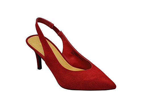 Bamboo Prevail-08S Womens Pointy Toe Sling Back High Heel Pump Black FS Size 10 Red Fs CFGXGq
