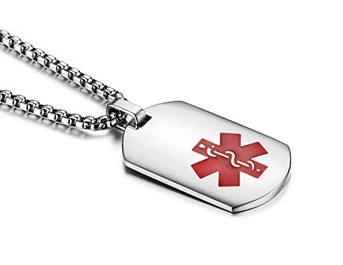 JF.JEWELRY Arc Surface Stainless Steel Medical ID Alert Necklace for Men & Women,Free Engraving 20 inches