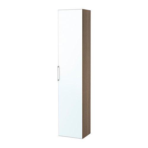 Ikea High cabinet with mirror door, walnut effect 15 3/4x12 5/8x75 5/8 -
