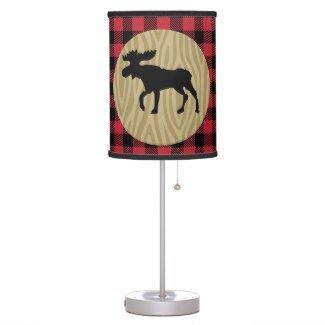 Lumberjack Buffalo Plaid Moose Silhouette Rustic Desk Lamp ()