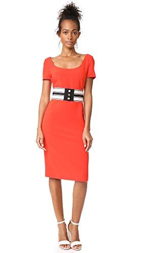 Diane von Furstenberg Women's Scoop Neck Belted Dress, Bright Red, - Red Dress Furstenberg Diane Von