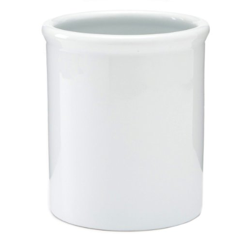 (2PO Pure White Porcelain Large Utensil Holder 6.5')