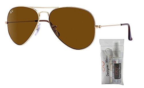 Ray Ban RB3025 Metal Aviator Sunglasses Gold/Crystal Brown