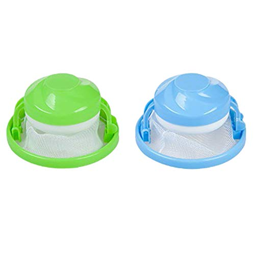 (aliveGOT 2Pcs Washing Machine Handy Lint Trap Debris Filter Mesh Pouch Dog Cat Pet Fur Remover Hair Catcher (Blue,Green))