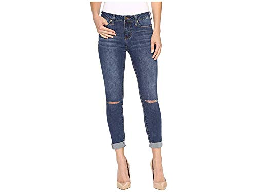 Liverpool Jeans Company Women's Cami Rolled-Cuff Crop in Vintage Super Comfort Stretch Denim, Edison Mid Blue Destruction, 10