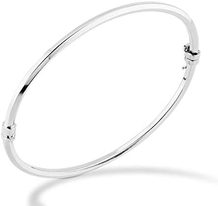 Miabella 925 Sterling Silver Italian Oval Hinged Bangle Bracelet for Women Girls, 6.75 to eight Inch, Made in Italy