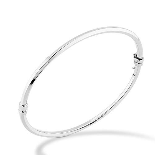 (MiaBella 925 Sterling Silver Italian Hinged Bangle Bracelet Jewelry for Women, Girls, 7