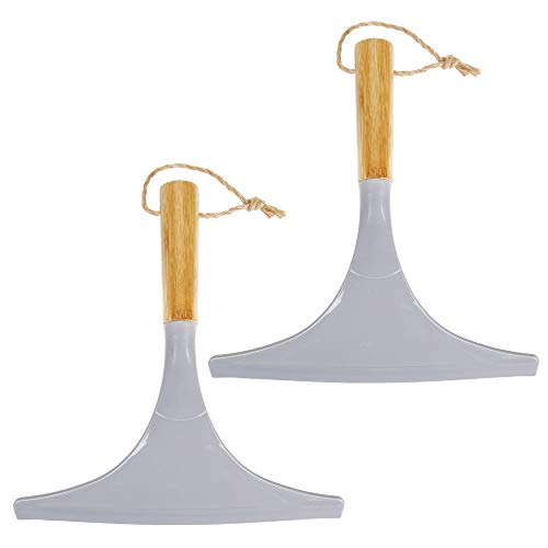 mDesign Bamboo Bathroom Shower Squeegee For Shower Door, Windows, Mirrors - Includes Hanging Loop, 2 Pack - GrayNatural