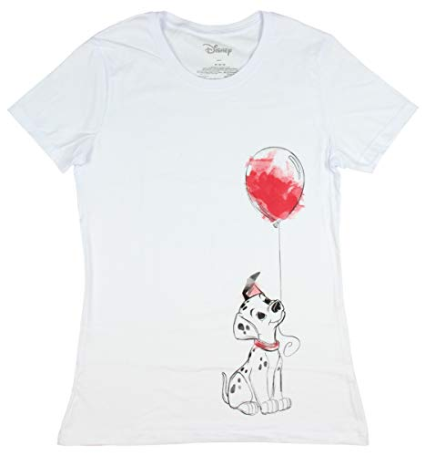 Disney 101 Dalmatians Shirt Puppy and Balloon Watercolor Licensed Graphic Juniors' T-Shirt (Medium) White ()
