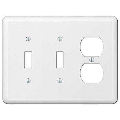 White Metal Double Toggle Switch Duplex Outlet Wall Plate Cover Combo Enamel -