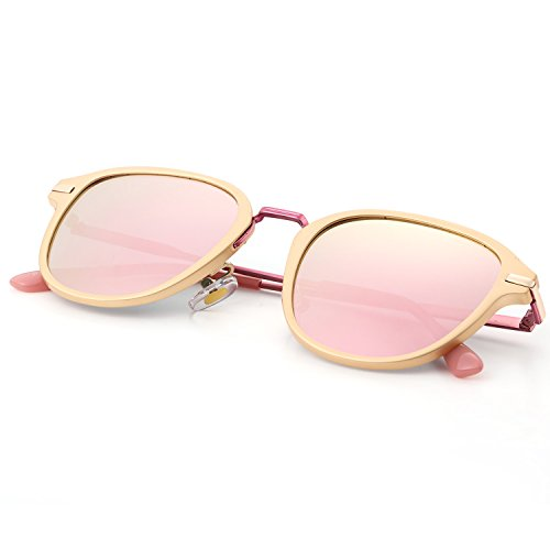 Menton Ezil Pink Mirrored Woman Polarized Sunglasses Fashion Metal Frame Round Style 100% UV Protection for - Rose Lens Sunglasses