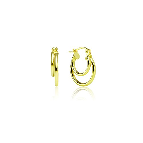 LOVVE Yellow Gold Flashed Sterling Silver High Polished 15mm Double Circle Round Click-Top Hoop - Double Round Hoop Gold
