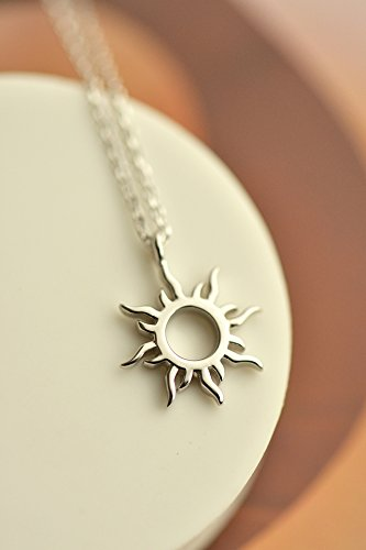 - s925 Sterling Silver Necklace Pendant Women Girls Creative Gift Korean Woman Fashion Sun Chain Clavicle Student Gift
