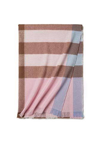 Wool Scarfs For Men & Women, Lightweight Fine Wool Soft Cashmere Feel Scarves Shawls & Wraps (Pink Plaid) (Fine Wool Shawl)