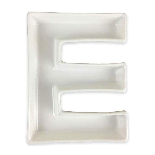 Just Artifacts - 5.5inch White Ceramic Letter Dish - Letter: E - Decorative Dishes for Weddings, Anniversarys, Baby Showers, Birthday Parties and Life -