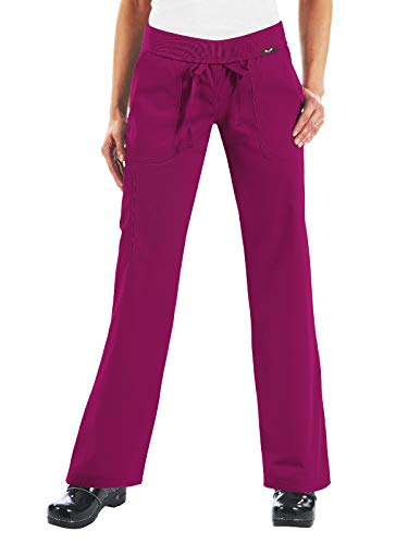 2015 Ladies Uniform - KOI Women's Morgan Ultra Comfy Yoga-Style Cargo Scrub Pants with Rib-Knit Waist, Raspberry, X-Large