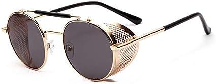 YUANCHENG Gafas de sol punk de estilo vintage unisex Gafas redondas para mujer Protectores laterales para hombre Marco de gafas huecas de metal