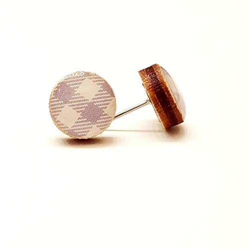 Handmade serenity blue and white plaid wooden stud earrings 10mm ()