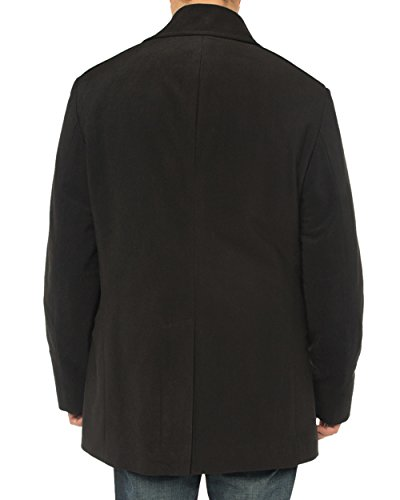 Luciano Natazzi Men's Double Breasted Top Coat Modern Fit Pea Coat (42 US - 52 EU, Black) by Luciano Natazzi (Image #4)