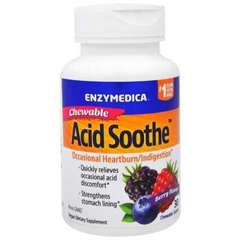 Enzymedica - Chewable Acid Soothe, Supports the Relief of Occasional Heartburn + Indigestion, 30 count (Best Food For Indigestion)