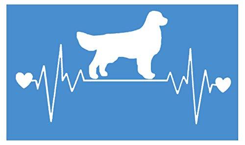 Golden Retriever Decals - EZ-STIK Golden Retriever Lifeline sticker 4 x 8.5 inch heartbeat dog decal