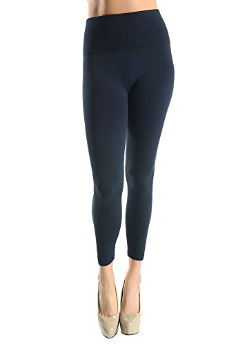 Womens Tummy Tuck High Waisted Fleece Leggings-Black-One Size Fits Almost All