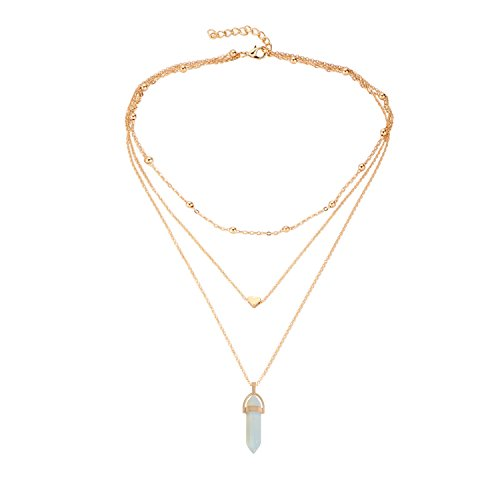 BaubleStar Fashion Gold Crystal Gemstone Pendant Necklace Multi-layered Choker Collar for Women Teen (Layered Stone)