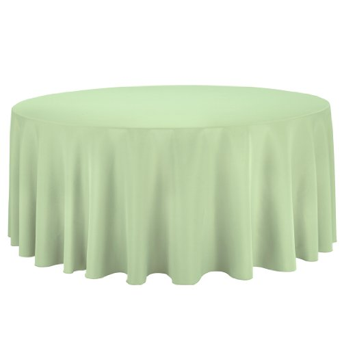 LinenTablecloth Round Polyester Tablecloth, 132-Inch, Reseda